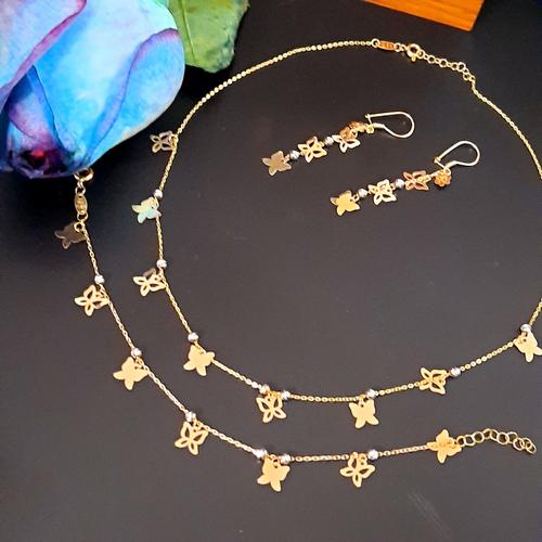 نیم ست طلا 18 عیار زنانه  گالری یارطلا مدل پروانه کد NS21