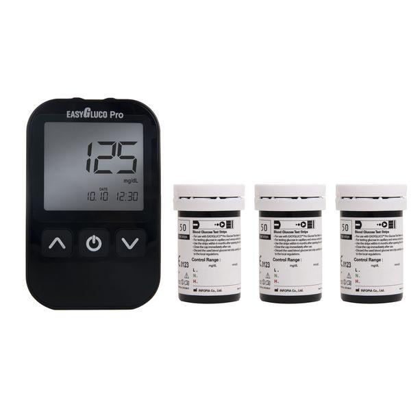 دستگاه تست قند خون اینفوپیا مدل Easy Gluco Pro به همراه نوار تست قند خون مجموعه 150 عددی