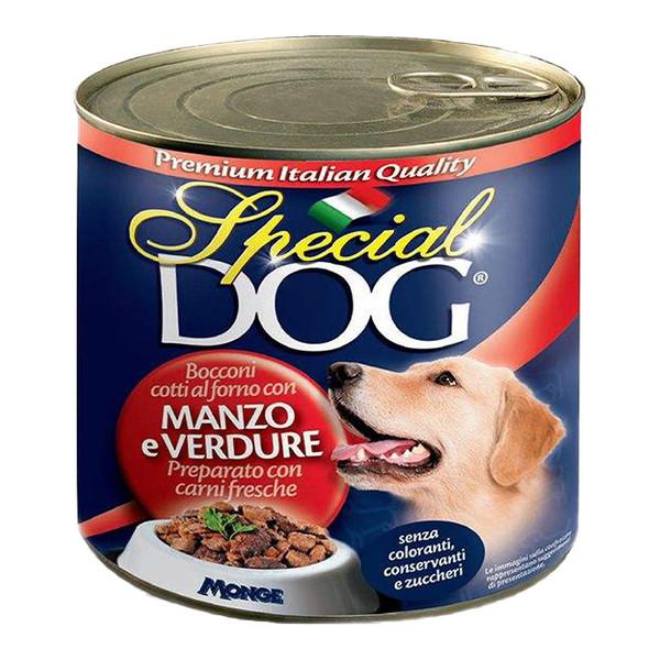 کنسرو غذای سگ اسپشیال داگ مدل manzo e verdure وزن 820 گرم