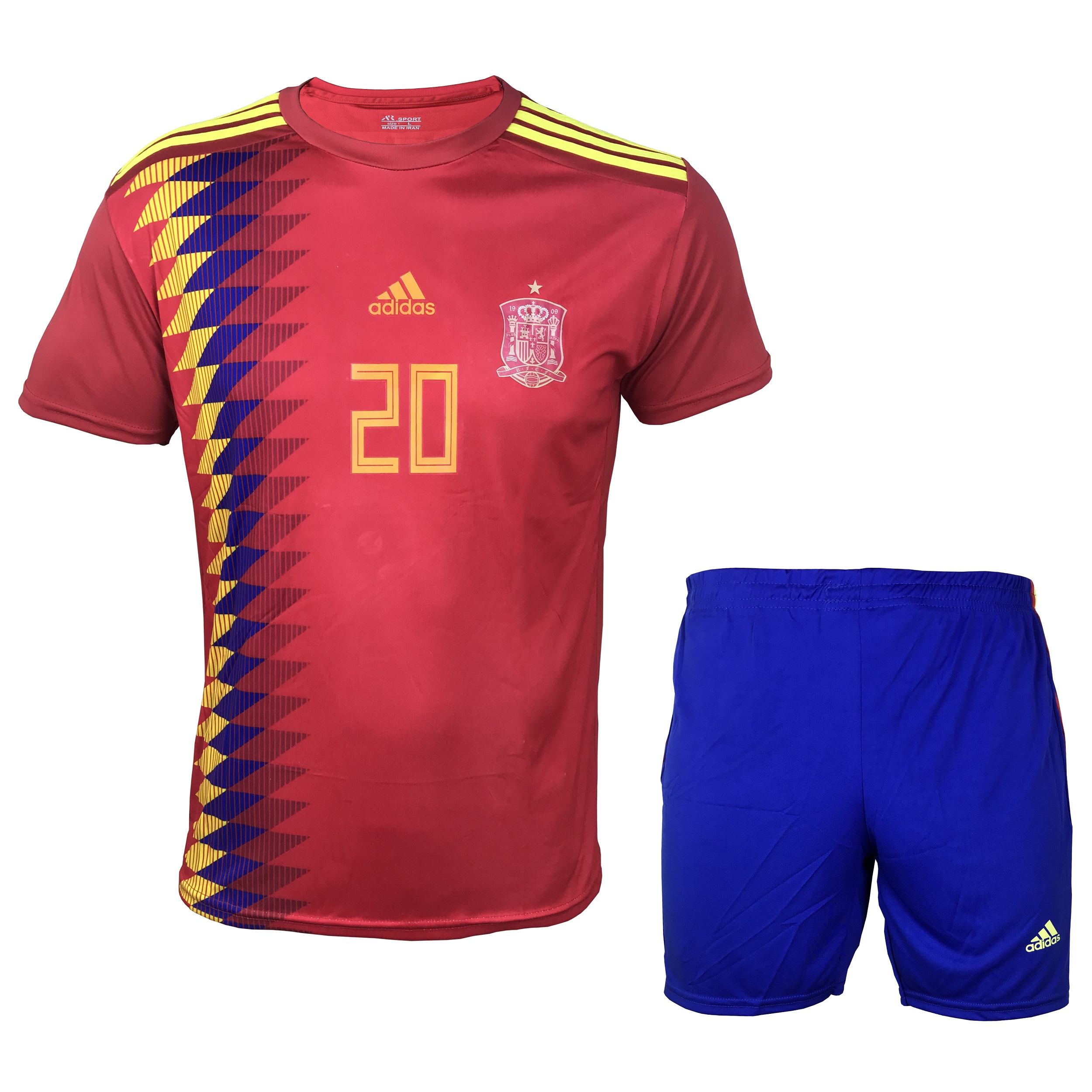 ست پیراهن و شورت ورزشی مردانه ای آر اسپورت طرح تیم ملی اسپانیا مدل آسنسیو کد 01