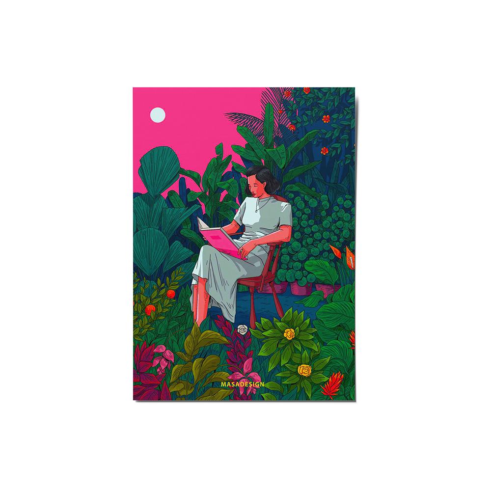 کارت پستال ماسا دیزاین مدل دختر و کتاب کد stkv0541