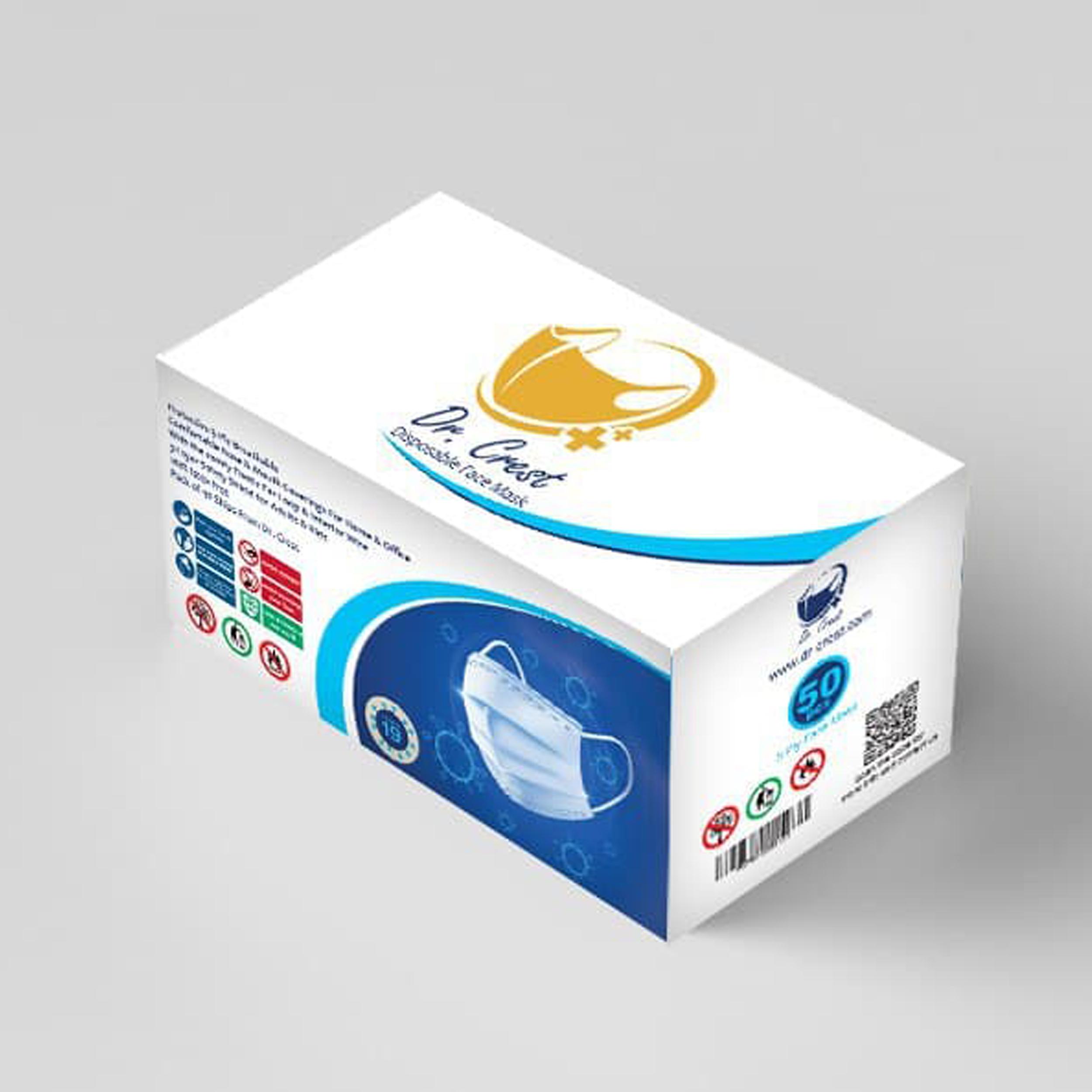 ماسک تنفسی سه لایه دکتر کرست مدل Dr-C50 بسته 200 عددی ( 4 جعبه 50 عددی )