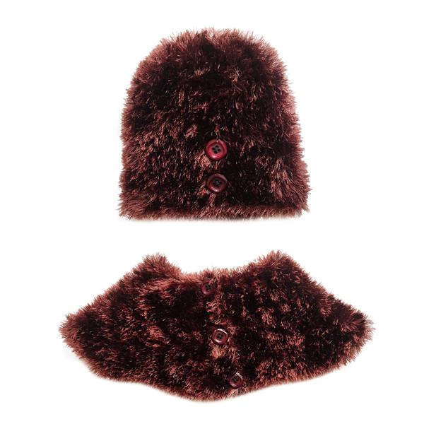ست کلاه و شال گردن بافتنی زنانه مدل  T-9525