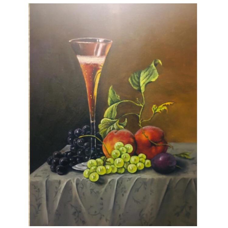 تابلو نقاشی رنگ روغن طرح میز میوه