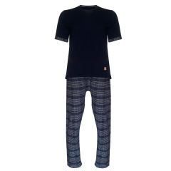 ست تی شرت و شلوار مردانه  لباس خونه مدل طه کد 991112 رنگ سرمه ای