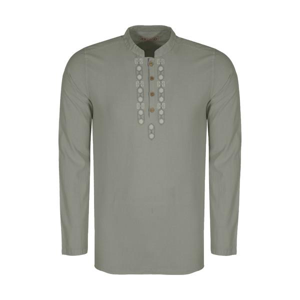 پیراهن مردانه تن درست مدل 123-GREY