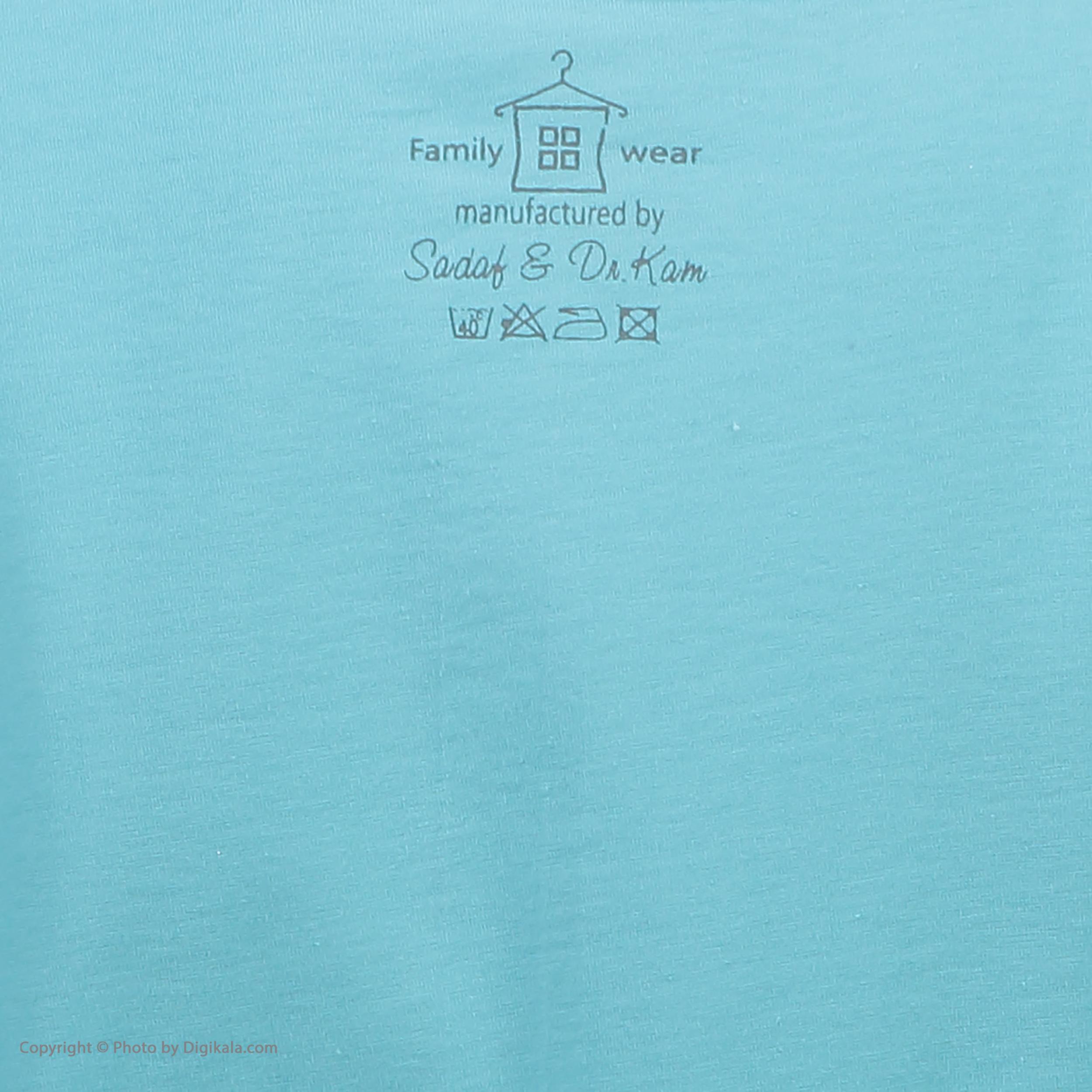 تی شرت آستین کوتاه زنانهفمیلی ورطرح دختر و پیزا کد 0162 رنگ آبی روشن -  - 6