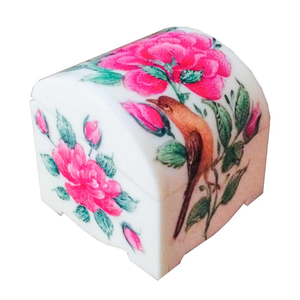 جعبه جواهرات استخوانی طرح گل و مرغ کد B 229