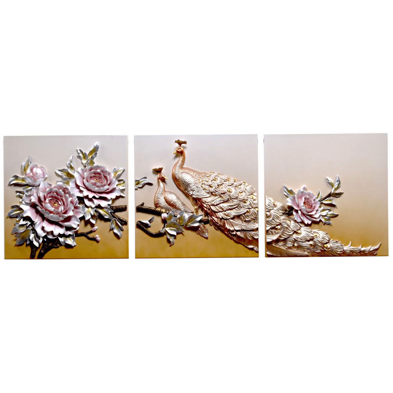 تابلو سه تکه دکوراد مدل گل و طاووس