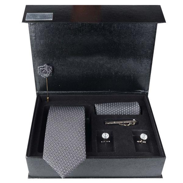 ست کراوات و دستمال جیب و دکمه سردست مردانه جیان فرانکو روسی مدل GF-PO1146-BK-BOX