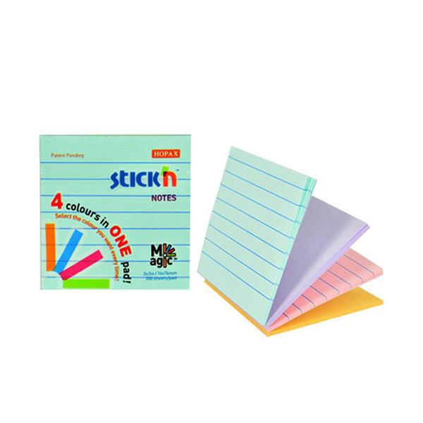 کاغذ یادداشت 4 رنگی هوپکس مربعی مدل خط دار