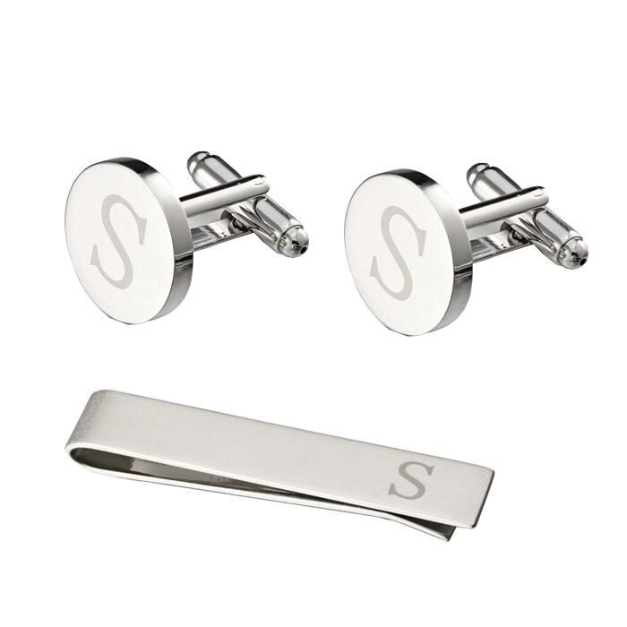 ست دکمه سردست و گیره کراوات مردانه زرکات طرح S مدل SS203