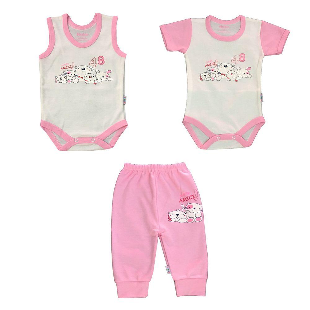 ست 3 تکه لباس نوزادی دخترانه شاهین طرح امیکی کد T
