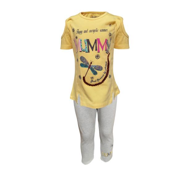 ست تی شرت و شلوارک دخترانه کد 10098-3