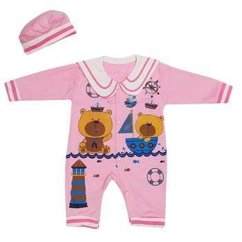 ست سرهمی و کلاه نوزادی دخترانه مدل ملوان کد Pi10