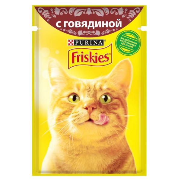 غذای پوچ گربه فریسکیز مدل Beef وزن 85 گرم