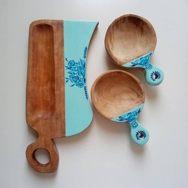 تخته سرو چوبی مدل نقاشی به همراه پیش دستی