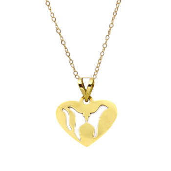 گردنبند طلا 18 عیار زنانه کاپانی طرح قلب کد KN026