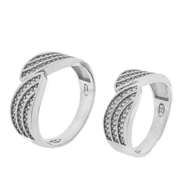 ست انگشتر نقره زنانه و مردانه مدل HS1005