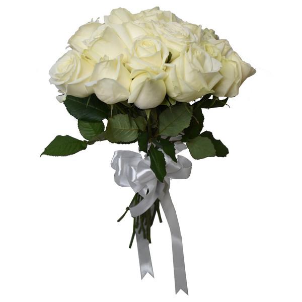 شاخه گل رز هلندی سفید دسته 20 عددی