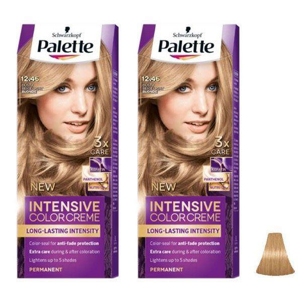 کیت رنگ مو پلت سری Intensive شماره 46-12 حجم 50 میلی لیتر رنگ بلوند بژ مجموعه 2 عددی