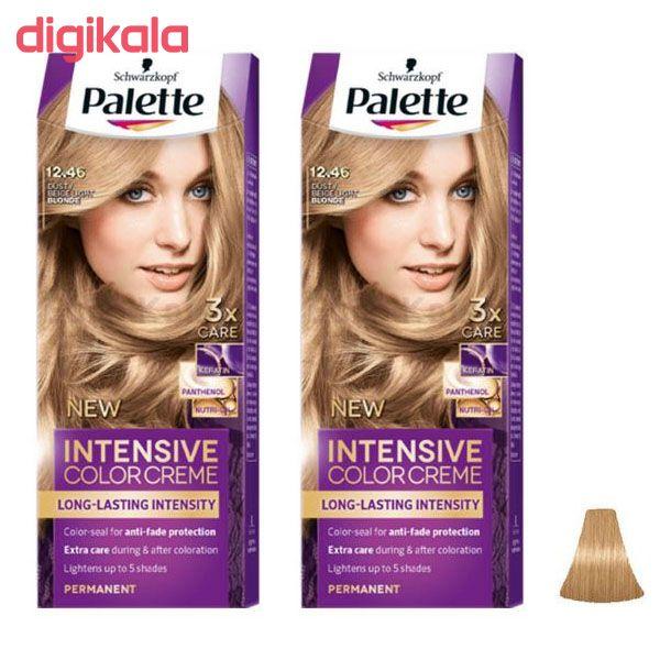 کیت رنگ مو پلت سری Intensive شماره 46-12 حجم 50 میلی لیتر رنگ بلوند بژ مجموعه 2 عددی  main 1 1