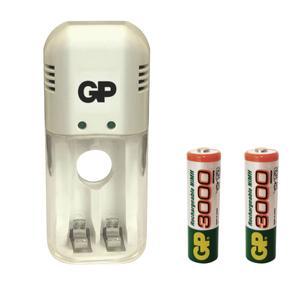 شارژر باتری جی پی مدل GP-320 به همراه 2 عدد باتری قلمی