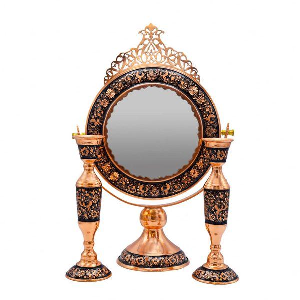 ست آینه و شمعدان قلمزنی کد 01 مجموعه 3 عددی