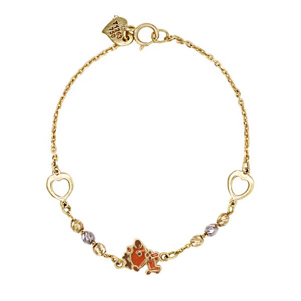 دستبند طلا 18 عیار دخترانه گالری مرجان مدل 1068