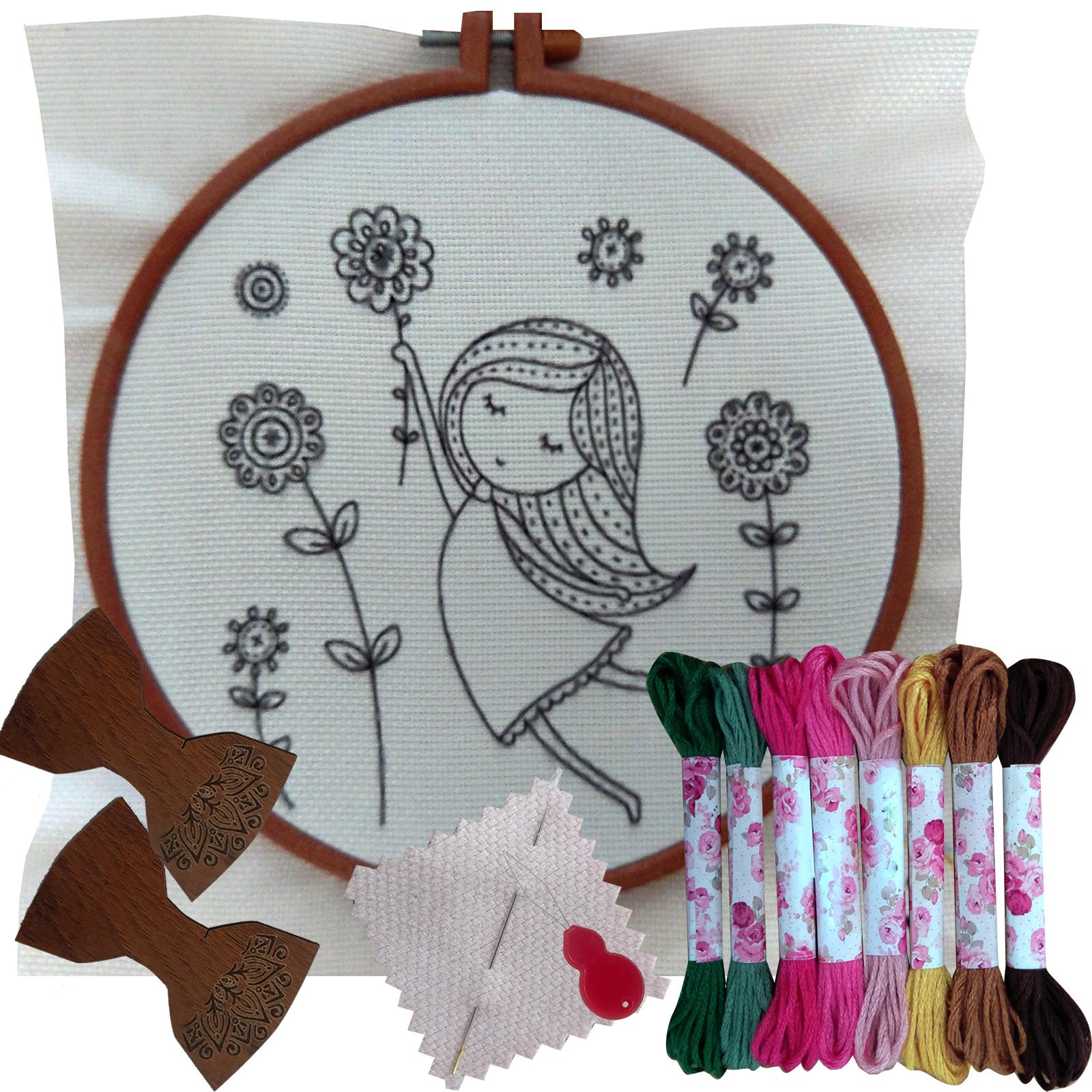 بسته گلدوزی طرح دخترک در باد مجموعه ۱۴ عددی