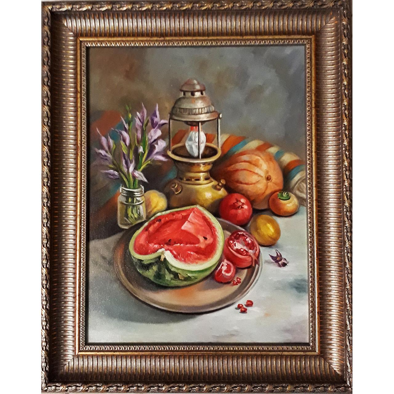 خرید                      تابلو نقاشی رنگ روغن طرح چراغ زنبوری و میوه