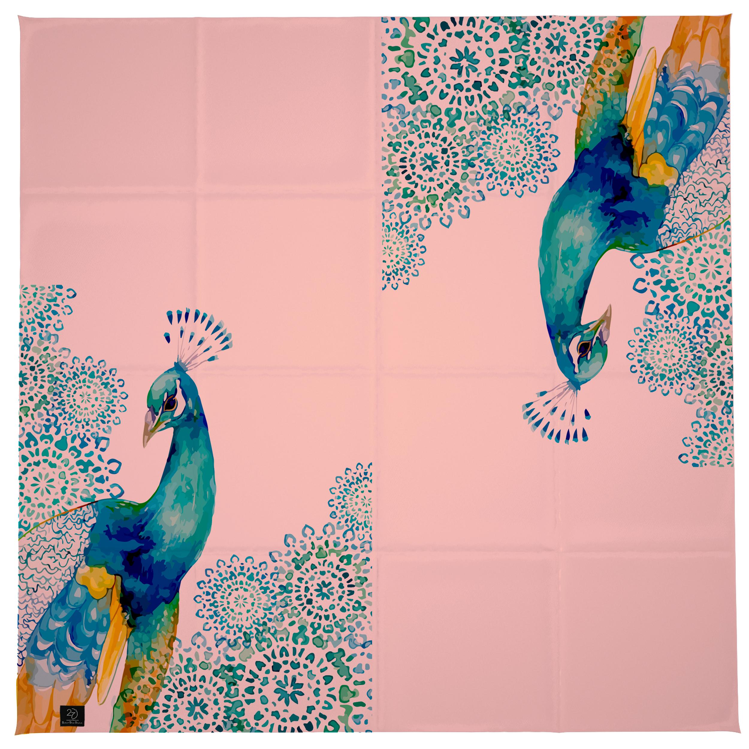 روسری زنانه 27 طرح طاووس کد H04 -  - 6