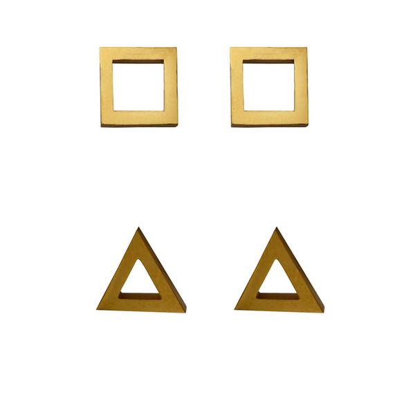 گوشواره زنانه طرح مربع و مثلث مجموعه دو عددی