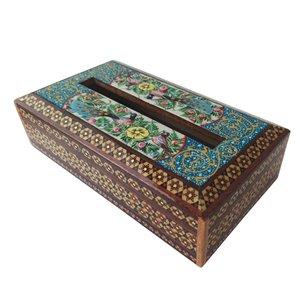 جعبه دستمال کاغذی خاتم کاری طرح گل و مرغ مدل گلسار کد 1143-G