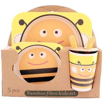 ظرف غذای 5 تکه کودک بامبو فایبر مدل زنبور کد 23