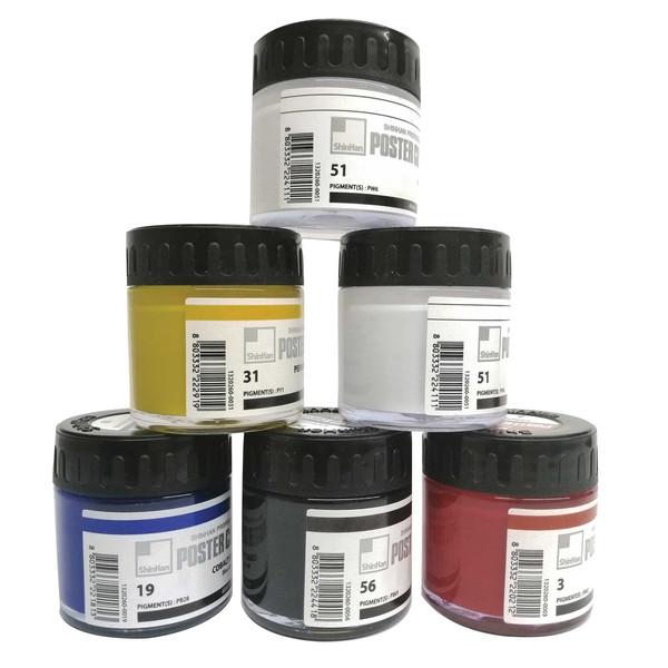 گواش 5 رنگ شین هان مدل poster color کد sh210T بسته 6 عددی