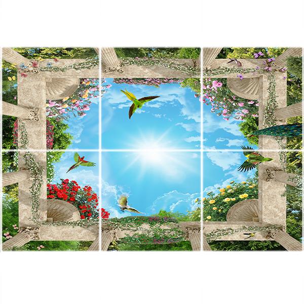 تایل سقفی آسمان مجازی طرح آسمان و باغ زیبا  کد ST 6123-6 سایز 60x60 سانتی متر مجموعه 6 عددی