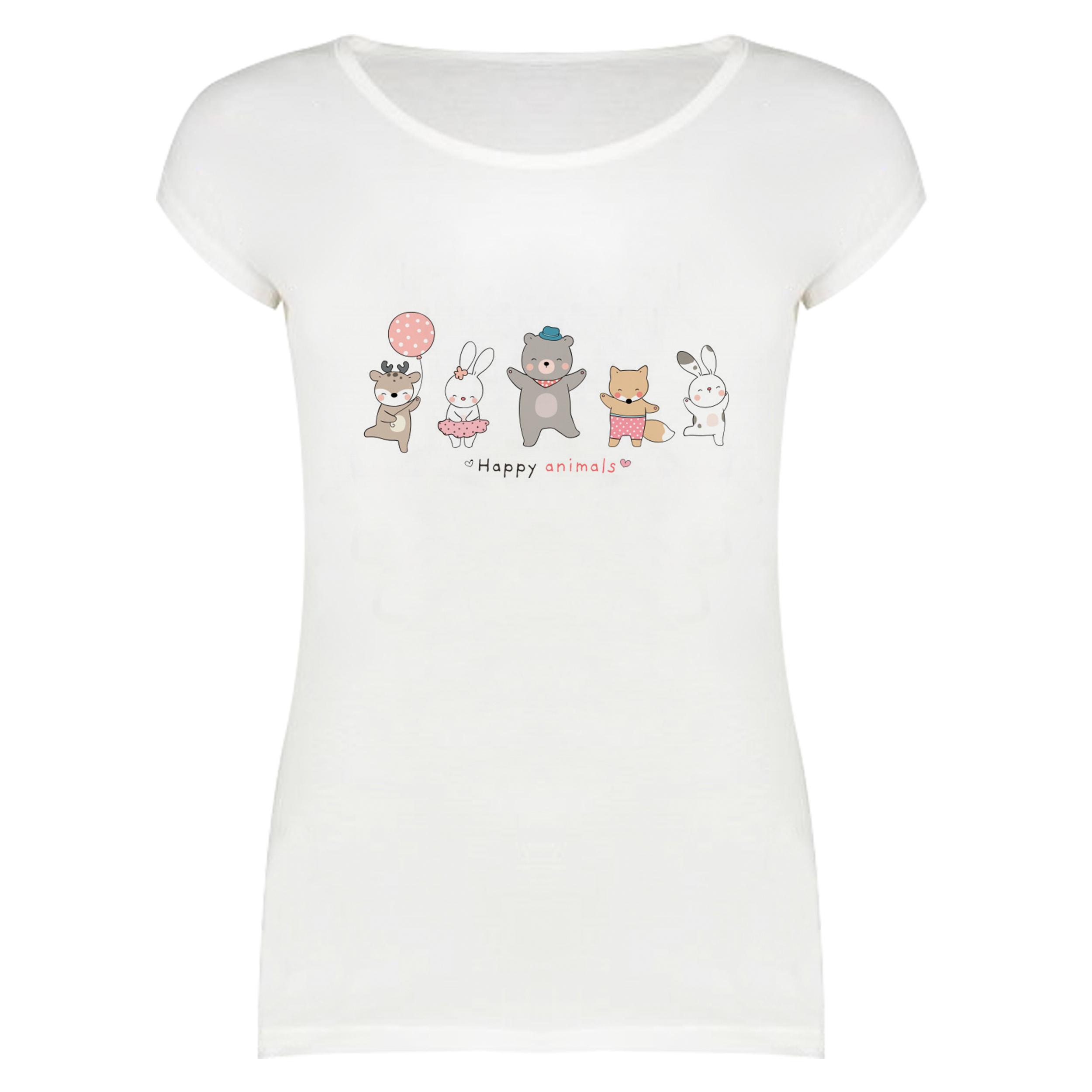 تی شرت آستین کوتاه زنانه مدل هپی کد f1454m