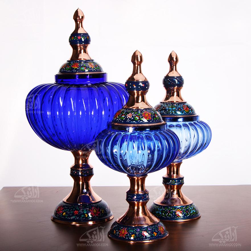 شکلات خوری پایه دار مس و پرداز رنگ آبی تیره طرح آبگینه مدل 1001200036 main 1 3