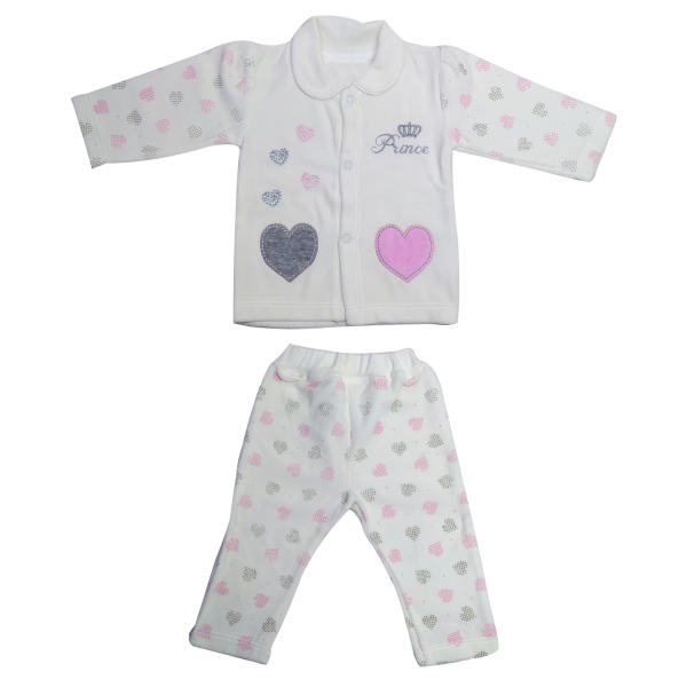 ست سویشرت و شلوار نوزادی مدل قلب پرنسس رنگ صورتی