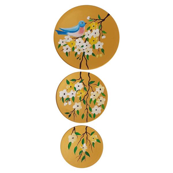 بشقاب دیوارکوب سفالی طرح پرنده کد D121-A مجموعه 3 عددی