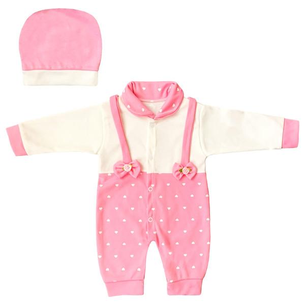 ست سرهمی و کلاه نوزادیطرح قلب کد FF-175