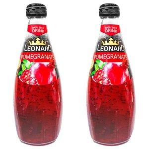 نوشیدنی لئونارد با طعم انار و تخم ریحان - 600 میلی لیتر