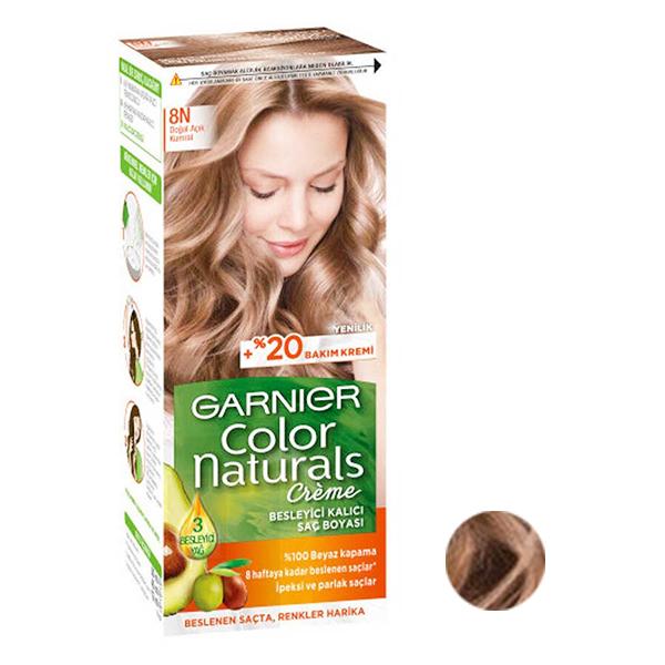 کیت رنگ مو گارنیه شماره 8N حجم 40 میلی لیتر رنگ قهوه ای روشن طبیعی