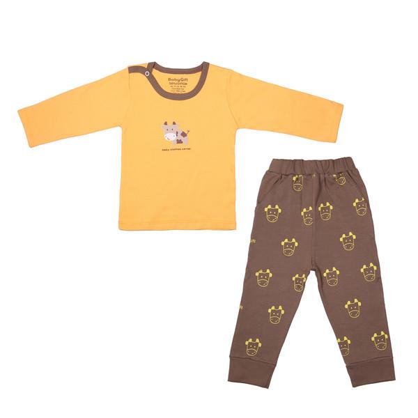 ست تی شرت و شلوار نوزادی پسرانه بی بی گیفت طرح گاو کد 14