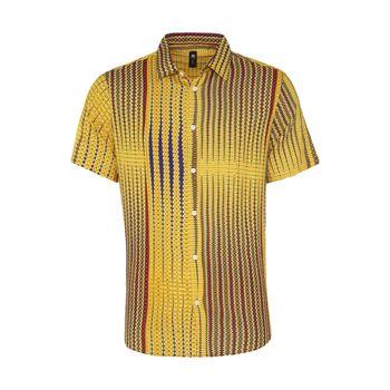 پیراهن آستین کوتاه مردانه ان سی نو مدل پرنتد رنگ خردلی