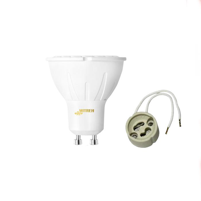 لامپ ال ای دی 7 وات میتره مدل hl7 پایه GU10 به همراه سوکت