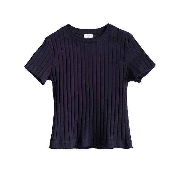 تی شرت آستین کوتاه زنانه کوی مدل دهه 90 رنگ سرمه ای