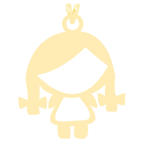 آویز گردنبند طلا 18 عیار زنانه کرابو طرح دختر بچه مدل Kr3669