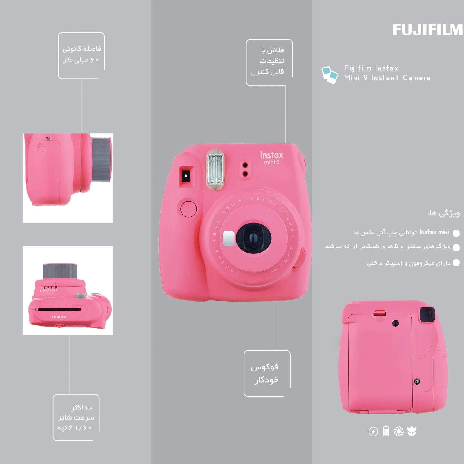 دوربین عکاسی چاپ سریع فوجی فیلم مدل Instax Mini 9 به همراه  فیلم مخصوص main 1 43